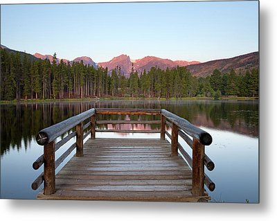 Mountains Behind Sprague Lake Metal Print by Lightvision, LLC
