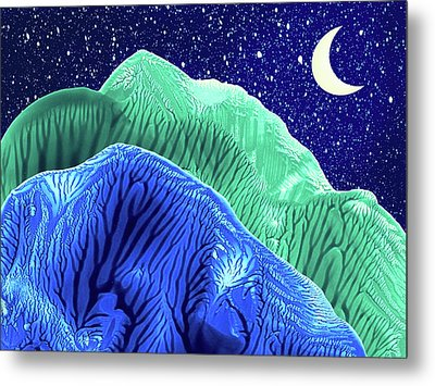 Mountains Moon Starry Night Abstract Landscape Metal Print by Amy Vangsgard