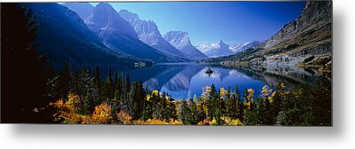 Mountains Reflected In Lake, Glacier Metal Print