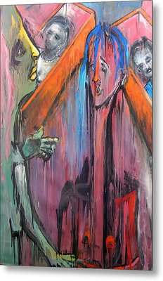 Metal Print featuring the painting Mourners by Kenneth Agnello