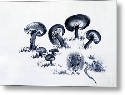 Mouse N Mushrooms Metal Print