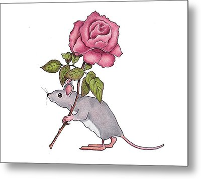 Mouse With Pink Rose Metal Print by Joyce Geleynse
