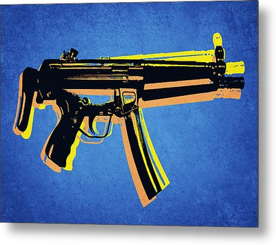Metal Print featuring the digital art Mp5 Sub Machine Gun On Blue by Michael Tompsett