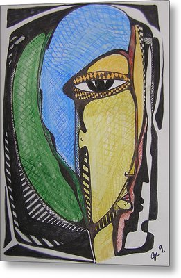 Mr. Blue And Green Hair Metal Print by Jimmy King