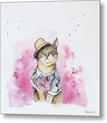 Mr Cat In Costume Metal Print by Venie Tee