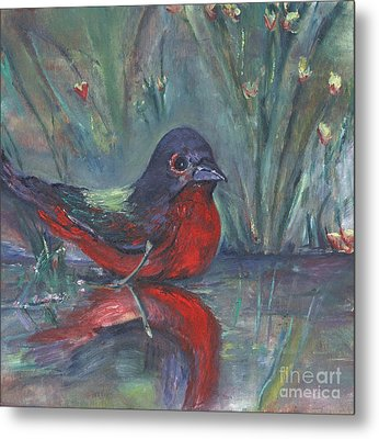Metal Print featuring the painting Mr. Finch by Helena Bebirian