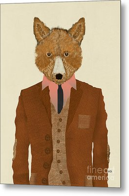Metal Print featuring the painting Mr Fox by Bri B