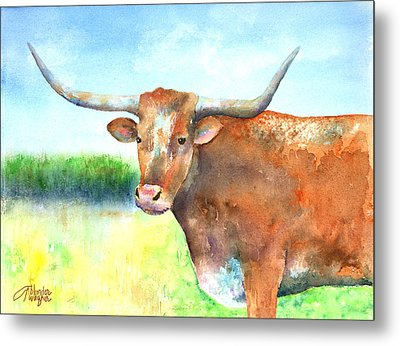 Mr. Longhorn Metal Print by Arline Wagner