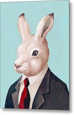 Mr Rabbit Metal Print by Animal Crew