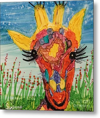 Mrs Giraffe Metal Print by Suzanne Canner