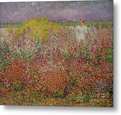 Mrs Russell Amongst The Flowers At Belle Isle Metal Print