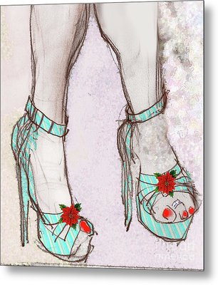 Metal Print featuring the painting Ms Cindy's Shoes With Poinsettas by Carolyn Weltman