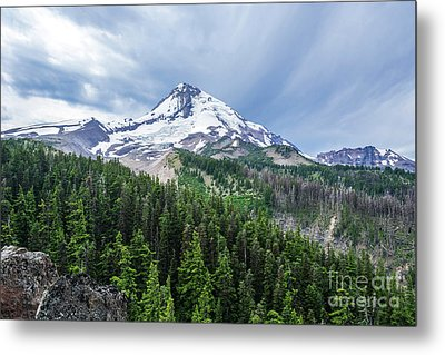 Mt Hood From Cloud Cap Metal Print by Linda Steider