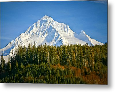 Mt Hood In Winter Metal Print by Albert Seger
