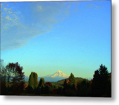 Mt Hood Just Before Sunset Metal Print by Lisa Rose Musselwhite