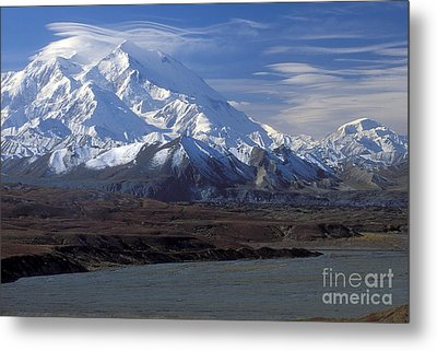 Mt. Mckinley And Lenticular Clouds Metal Print by Sandra Bronstein