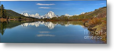Mt. Moran Reflections At Oxbow Metal Print by Adam Jewell