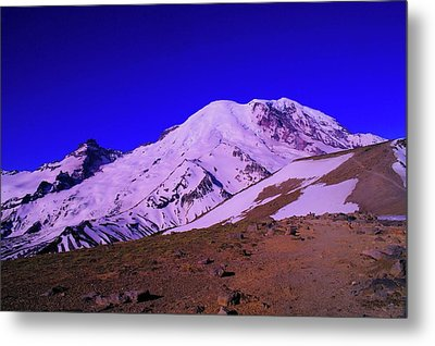 Mt Rainer And Bourroughs Mt In The Foreground  Metal Print by Jeff Swan