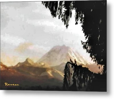 Metal Print featuring the photograph Mt. Rainier In Lace by Sadie Reneau