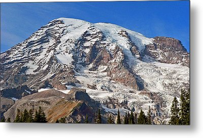 Metal Print featuring the photograph Mt. Rainier In The Fall by Larry Keahey