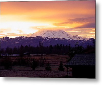 Mt. Rainier On Fire Metal Print by Shirley Heyn