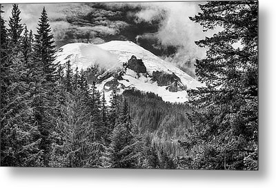 Metal Print featuring the photograph Mt Rainier View - Bw by Stephen Stookey