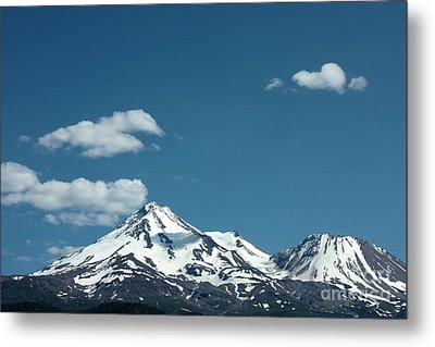 Mt Shasta With Heart-shaped Cloud Metal Print by Carol Groenen