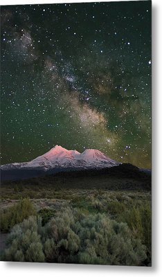 Mt Shasta With Milky Way#2 Metal Print by Keith Marsh