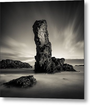 Muchalls Stack Metal Print by Dave Bowman