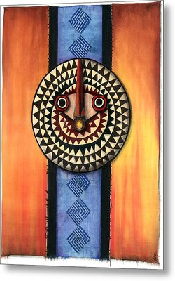 Mud Cloth Mask Metal Print by Anthony Burks Sr