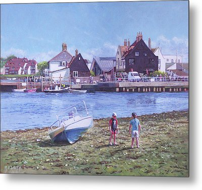 Metal Print featuring the painting Mudeford Quay Christchurch From Hengistbury Head by Martin Davey