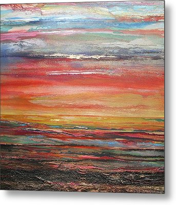 Mudflats Budle Bay Evening Light No2 Metal Print by Mike   Bell