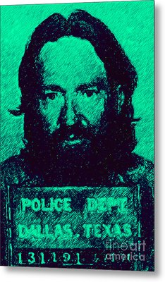 Mugshot Willie Nelson P28 Metal Print by Wingsdomain Art and Photography