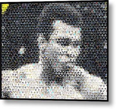 Muhammad Ali Butterfly Bee Mosaic Metal Print by Paul Van Scott