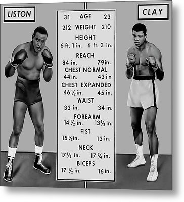 Muhammad Ali Vs Sonny Liston - Tale Of The Tape 1964 Metal Print by Daniel Hagerman