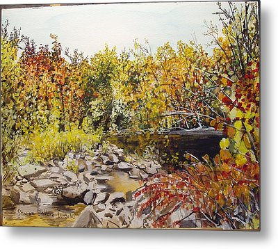Mulberry River In Fall Another View Metal Print by Sharon  De Vore