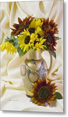 Multi Color Sunflowers Metal Print by Sandra Foster