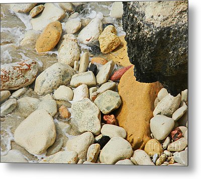 multi colored Beach rocks Metal Print