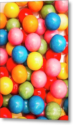 Multi Colored Gumballs. Sweets Background Metal Print