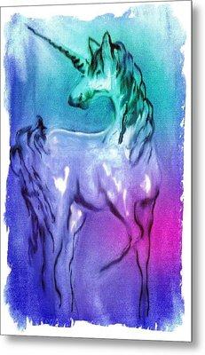 Multi Coloured Unicorn Metal Print by Carol Rowland