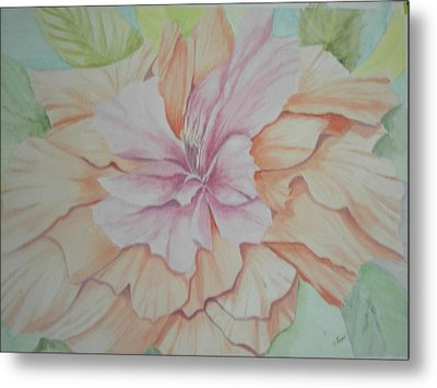 Metal Print featuring the painting Multipetaled Pink Coral Hibiscus by Hilda and Jose Garrancho