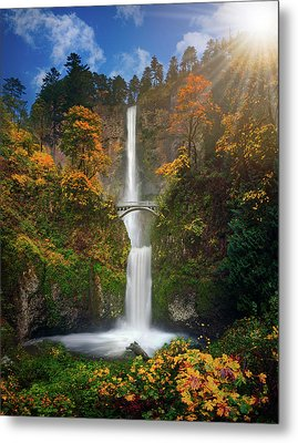 Multnomah Falls In Autumn Colors -panorama Metal Print