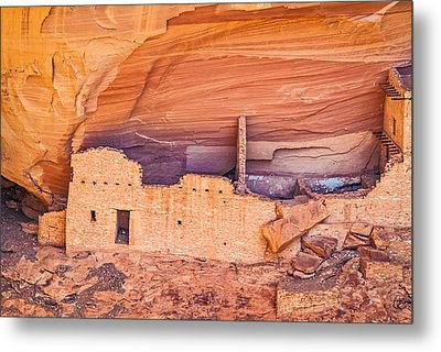 Mummy Cave Ruin Detail - Canyon De Chelly National Monument Photograph Metal Print