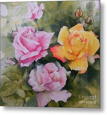 Mum's Roses Metal Print by Sandra Phryce-Jones