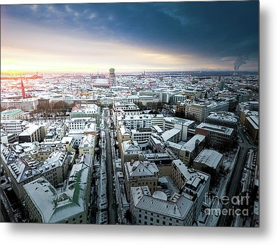 Metal Print featuring the photograph Munich - Sunrise At A Winter Day by Hannes Cmarits