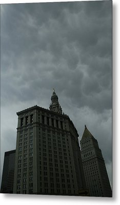 Municipal Building In Storm Metal Print by Christopher Kirby