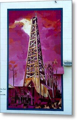Mural Detail 12x120 Feet Midwest The First Oil Derek In Alberta Metal Print by Tim  Heimdal
