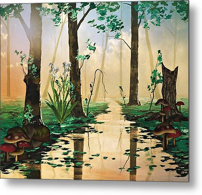 Mushroom Forest Metal Print by Digital Art Cafe