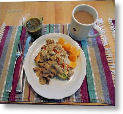 Metal Print featuring the digital art Mushroom Gravy Over Breakfast Quiche  by Jana Russon