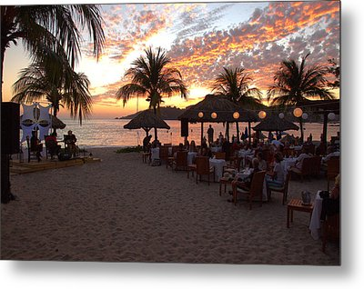 Music And Dining On The Beach Metal Print by Jim Walls PhotoArtist